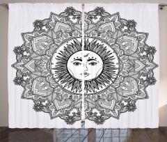 Güneş Tanrısı Desenli Fon Perde Güneş Tanrısı Desenli