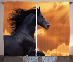 At Desenli Fon Perde Gün Batımı