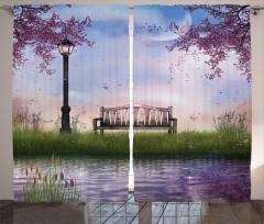 Bahar Temalı Fon Perde Çiçek Ağaç Nehir Mor