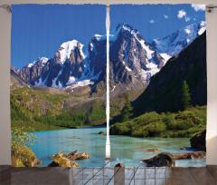 Karlı Dağlar ve Nehir Fon Perde Mavi