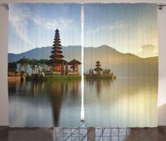 Tapınakta Gün Doğumu Fon Perde Göl