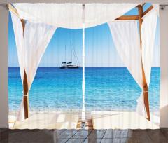 Cennet Plajı Manzaralı Fon Perde Beyaz Mavi