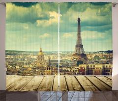 Bulutlar ve Paris Fon Perde Eyfel Kulesi Gökyüzü