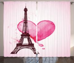 Eyfel ve Kalp Fon Perde Pembe Aşk Eyfel