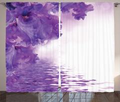 Islak Çiçekler Fon Perde Bahar Çiçekleri Mor