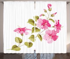 Çiçekler ve Yaprakları Fon Perde Çeyizlik Beyaz Trend