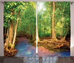 Yeşil Orman Temalı Fon Perde Ağaç Doğa Güneş