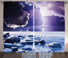 Bulut ve Yağmur Temalı Fon Perde Lacivert Deniz