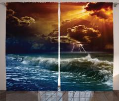 Gün Batımı Temalı Fon Perde Turuncu Lacivert Deniz