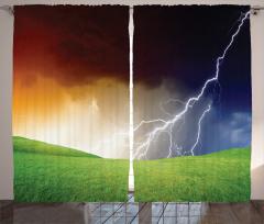 Yağmur Temalı Fon Perde Gökyüzü Şimşek Yeşil Bulut
