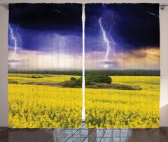 Yağmur Temalı Fon Perde Lacivert Sarı Çiçek Bulut