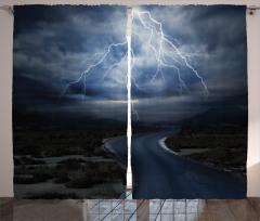 Fırtınalı Yol Temalı Fon Perde Yağmur Yıldırım