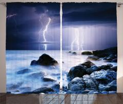 Yağmur ve Deniz Desenli Fon Perde Lacivert Bulut