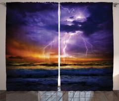 Gün Batımında Yağmur Fon Perde Deniz Dalga