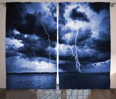 Lacivert Gökyüzü Temalı Fon Perde Yağmur Deniz