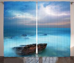 Turkuaz Deniz Manzaralı Fon Perde Gökyüzü Bulut