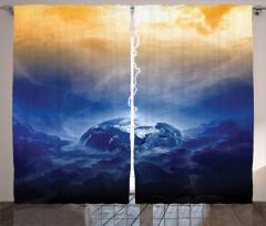 Dünya ve Yağmur Temalı Fon Perde Lacivert Gökyüzü