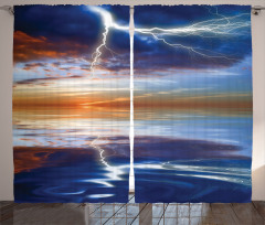 Bulut ve Yağmur Temalı Fon Perde Gökyüzü Lacivert
