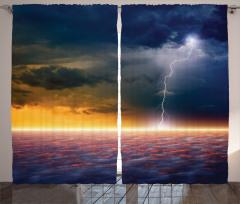 Yağmur Bulutları Fon Perde Deniz Lacivert