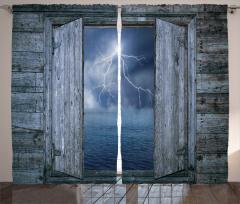 Yağmurlu Gece Temalı Fon Perde Ahşap Pencere Deniz