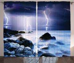 Deniz ve Yağmur Temalı Fon Perde Lacivert Gökyüzü