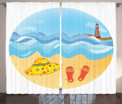Deniz Feneri ve Kumsal Fon Perde Deniz Feneri Kumsal