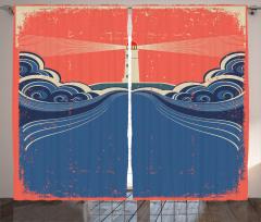Dalga ve Deniz Feneri Fon Perde Kirli Görünümlü