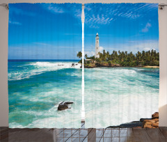 Adadaki Deniz Feneri Fon Perde Deniz Feneri Mavi