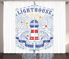 Deniz Feneri Çizimli Fon Perde Mavi Beyaz Kırmızı