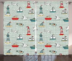Kuş ve Deniz Feneri Fon Perde Deniz Feneri Martı Yeşil