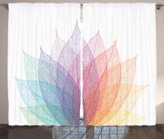 Yaprak Desenli Fon Perde Rengarenk Şık Çeyizlik