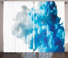 Girdap Temalı Fon Perde Mavi Beyaz Şık Tasarım