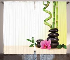 Çiçek ve Bambu Desenli Fon Perde Yeşil Şık Tasarım