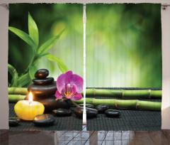 Orkide ve Bambu Temalı Fon Perde Mor Yeşil Mum