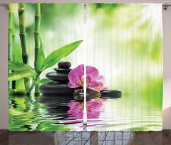 Spa Temalı Fon Perde Orkide Bambu Yeşil Mor Taş Su