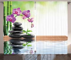 Bambu ve Orkide Desenli Fon Perde Terapi Çiçek Mor