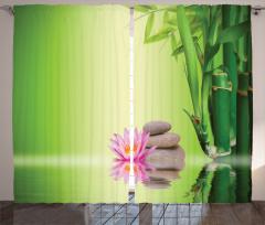 Zen Bahçesi Temalı Fon Perde Yeşil Çiçek Terapi