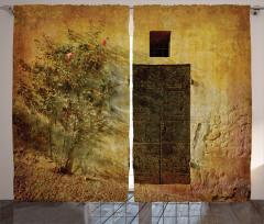 Kapı Desenli Fon Perde Nostaljik Çiçek Kahverengi