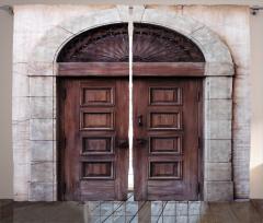 Kahverengi Ahşap Kapı Fon Perde Nostaljik