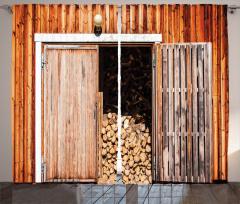 Odun ve Ahşap Kapı Fon Perde Kahverengi