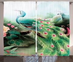 Tavus Kuşu Desenli Fon Perde Yeşil Turkuaz Şık