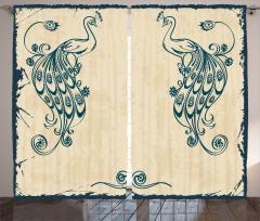Tavus Kuşu Desenli Fon Perde Nostaljik Bej Mavi