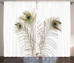 Kuş Tüyü Desenli Fon Perde Kahverengi Beyaz Şık