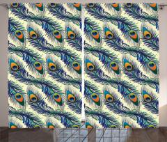 Tavus Kuşu Tüyü Desenli Fon Perde Lacivert Yeşil