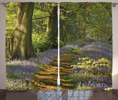 Ormanda Bahar Temalı Fon Perde Ağaç Çiçek Yeşil