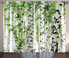 Ağaç Temalı Fon Perde Yeşil Beyaz Orman Yaprak