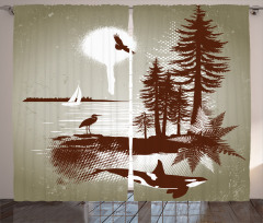 Deniz ve Ağaç Desenli Fon Perde Yelkenli Kuş Şık