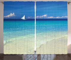 Tropikal Plaj Temalı Fon Perde Turkuaz Deniz Dalga