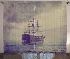 Korsan Gemisi Desenli Fon Perde Kahverengi Antika
