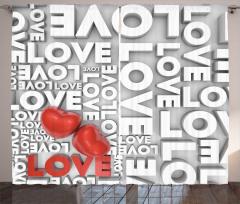 Romantik Kırmızı Kalp Fon Perde Romantik Kırmızı Kalpler